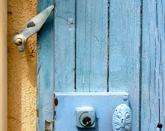 Provence blue door, fine art paris photography, b&w photography, travel photo, wall decor