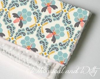 Honeycomb Baby Blanket - Aqua, Pink, Gold Honey Bee - Toddler Blanket - Minky Backed