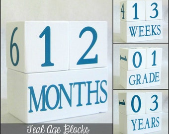 Baby Age Blocks - Teal