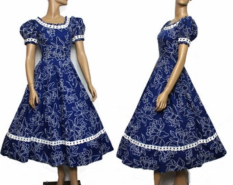 Vintage 1950s Dress Cupcake  Floral Rockabilly Garden Party Mad Man Couture Pinup Bombshell Femme Fatale Full Circle