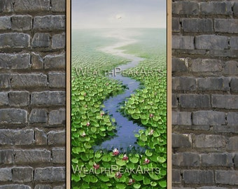 original painting,water lily painting,modern canvas painting for home decor,impasto,framed,ready to hang,huge 100cm