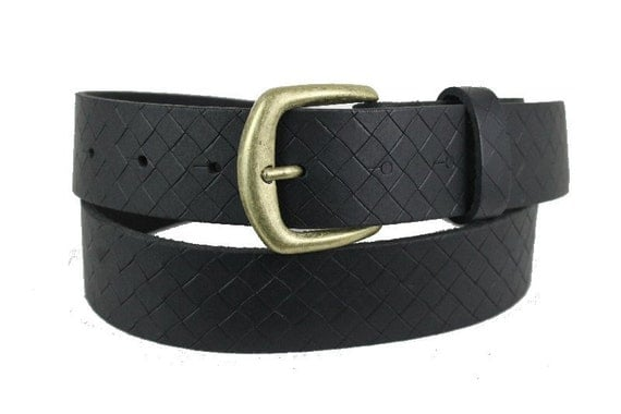 handmade black blank leather belt with snaps and by
