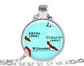 Aruba, Curacao necklace pendant charm, Caribbean map jewelry, Aruba pendant 2 of 2, custom aruba map necklace, mom gift, A157