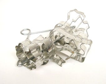 Vintage Tin Cookie Cutters with Holder