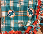 Miami Dolphins Blanket - NFL Fleece Fringe Quilt - Tie Edges w/ Dolphin Pattern - Boy or Girl to Adult Sizes - ANY TEAM Available
