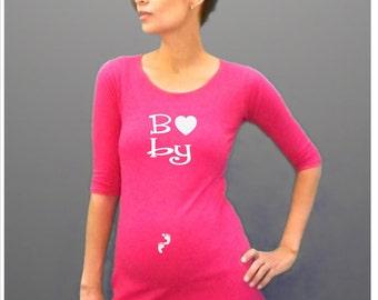 "Fun, Stylish  maternity Shirt ""Baby"" with footprints 3/4 sleeves"