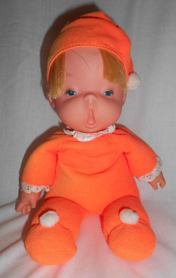 1970 Mattel Baby Beans Doll Orange Sleeper Yawning Adorable