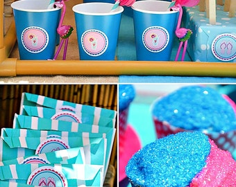 """Summer Pool Party """"Pink Flamingo"""" Blue, Pink and Yellow Editable & Printable Party Kit - Featured on HWTM"""