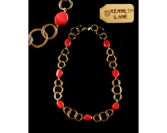 Kenneth Jay Lane Red Pebble and Goldtone Circle Necklace