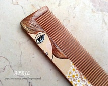 Personalized birth flower comb, hand painted wooden comb, wood comb, personailized gift, customizable gift, birthday gift, bridesmaids gift