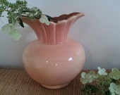 Rare Vintage Red Wing Vase # 773 Two Tone Pink & Cocoa Brown Shabby Chic Cottage, Beautiful Wedding Centerpiece Large Round Scalloped Top