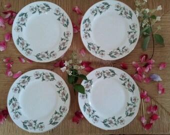 Beautiful CROWN, Staffordshire England, Fine Bone China RARE Pattern Christmas Rose, A Festive Flower Wild White Dog Rose 4 Cake Plate Set