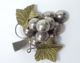 Vintage TAXCO Sterling Silver Grape Cluster Brooch Pendant