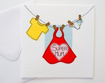 Greeting Card - Super Mum Birthday Card - Mother's Day Card - Super Mom Card