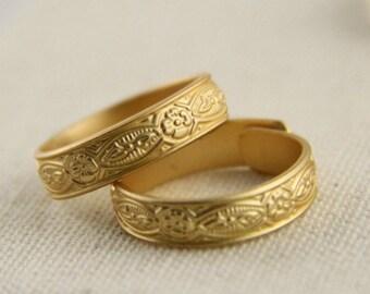 2 pcs of brass ring base open adjustable design-18mm inner diameter 4.5mm width-4046-matte gold