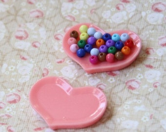 12 pcs resin heart tray 35x25mm-1614