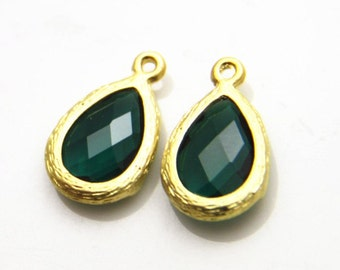 4 pcs of faced jewelry fit with matte goldsetting drop pendant  20x13mm-1683-emerald 301