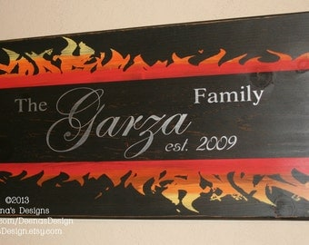 Family Established Sign, Firefighter Decor, Firefighter Wedding, Wall Decor, Custom Wood Sign, Firefighter - Firefighter Family Est. Sign