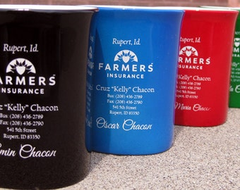 Laser Engraved Coffee Mugs or Cups with Rounded Corners + includes Backside Engraving