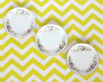 For Your Fridge Art - Mini Pink and Green Floral Plates Upcycled into Magnets For Kitchen or Office