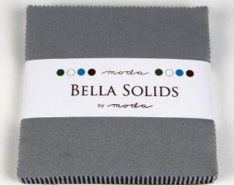 Bella Solids Charm Pack, Silver 9900PP-183 by Moda