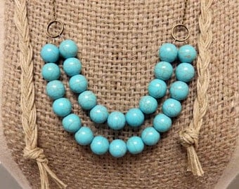Brass link chain with turquoise style beads