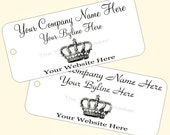 Custom Printed Price Tags Regal Crown Image Hang Tags - String Attached - Choose Your Cardstock Color