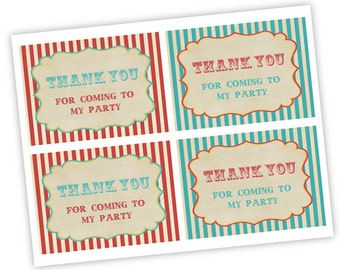 INSTANT DOWNLOAD Vintage Circus Thank you  card  For Baby Shower Printable