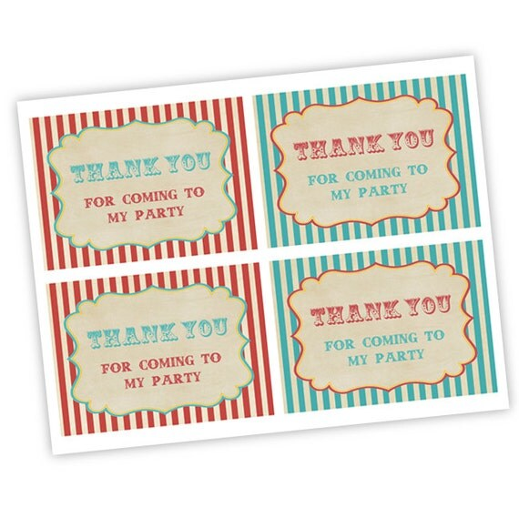 Vintage Baby Shower Thank You Cards: INSTANT DOWNLOAD Vintage Circus Thank You Card For Baby