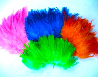 120+ feathers, Tropical Mix, Rooster saddle, earring feathers, bulk, wholesale, per pack (SADTMIX)