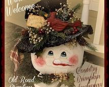 Primitive Snowman Pattern Winter Welcome Country Bumpkin Snowman Christmas ePattern
