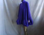 Purple A-line  turtleneck jersey & taffeta cocktail/red carpet dress with lantern sleeves and lantern flounce