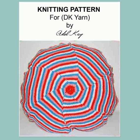 Knitting Pattern Round Cushion Cover : Knitting Pattern PDF Document Ella Beach Style DK Yarn Round