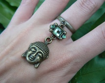 brass buddha ring green cabachon in boho gypsy Moroccan Indie New Age hippie hipster native american tribal fusion and tribal style
