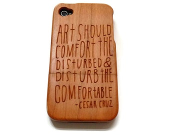 wooden Iphone 4 case / iphone 4S case - wood iphone 4 case bamboo, cherry and walnut wood - Art should disturb - laser- engraved