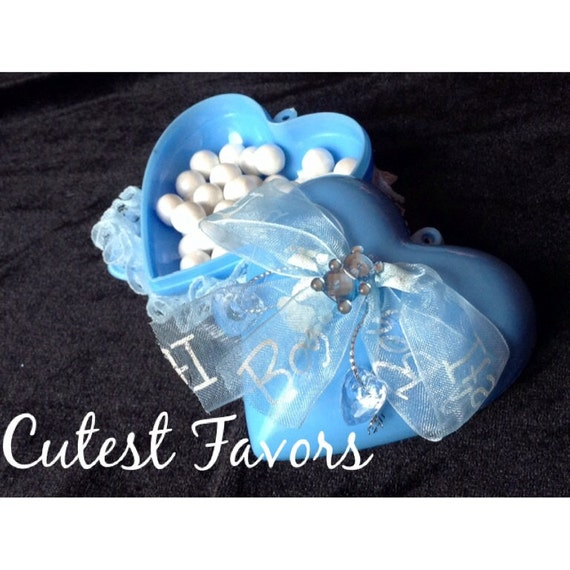 Blue Baby Shower Favor Boxes : Blue baby shower favor boxes set of heart shaped