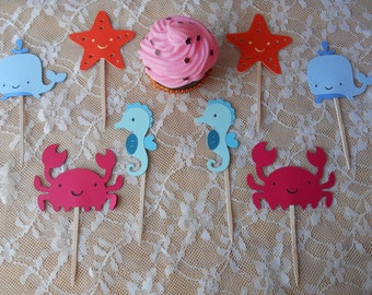 Sea Creatures CupCake Toppers,birthday,babyshower,seahorse,whale,crab,starfish,red,blue,green,orange,purple