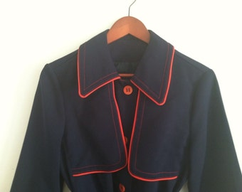 Vintage Navy and Red Spring Coat