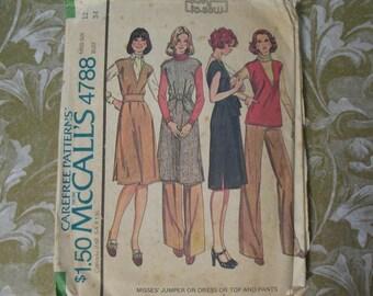 Vintage 70s McCalls Pattern 4788 Dress Tunic Pants Size 12