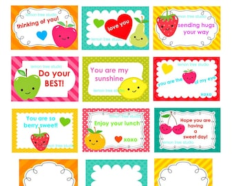 SPECIAL PRICE - Printable LOVE Notes for Children's Lunch - (Instant Download)