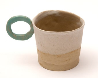 SALE Stoneware cup with round handle