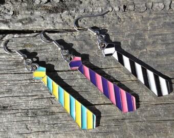 Funky Striped Tie Earrings