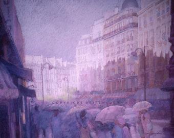 Paris Print 8x10 street scene, rainy day, city, rain shower, figures, French, France, lavender, purple, pink, people, umbrellas, raining
