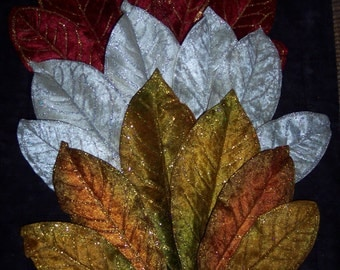 Velvet leaves,large,single accent leaves with glitter accents,6/pkg,red,winter white,autumn earth tones,holiday,Christmas florals