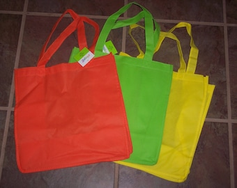 Tote bags to decorate,non-woven,undecorated,large,square bottomed with handles,100% olefin,orange,green or yellow,kid's craft