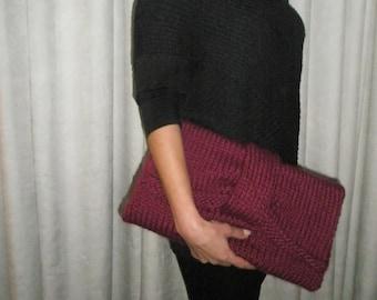 Deeper pink hand knitted bag
