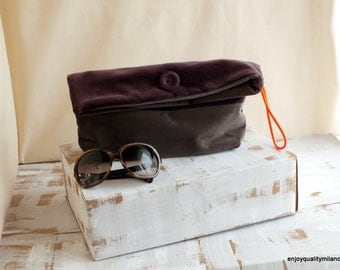 velvet clutch in two tones, deep purple and  brownish gray, with vintage button