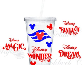 Disney Cruise Line (DCL) Inspired with ship name on Double Wall Acrylic Tumbler 16oz