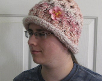 Rolled Brim Parfait Hand Knit Bucket Hat with Removable Flower Pin