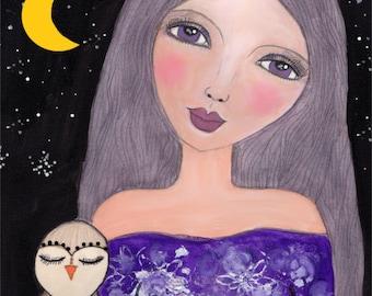 Whimsical Art Print, Girl With Owl Art, Folk Art Girl, Owl Art